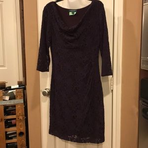 Plum Lauren Ralph Lauren lace dress Sz14